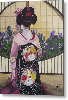 Geisha With Iris Metal Print by Kim Selig