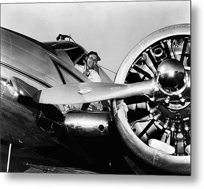 Gene Autry In His Airplane, 1955 Metal Print by Everett