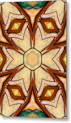 Geometric Stained Glass Abstract Metal Print by Linda Phelps