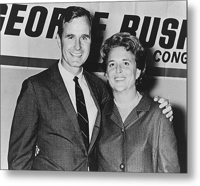 George And Barbara Bush In Houston Metal Print by Everett