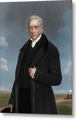 George Stephenson, British Engineer Metal Print by Maria Platt-evans