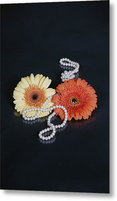 Gerberas With Pearls Metal Print by Joana Kruse