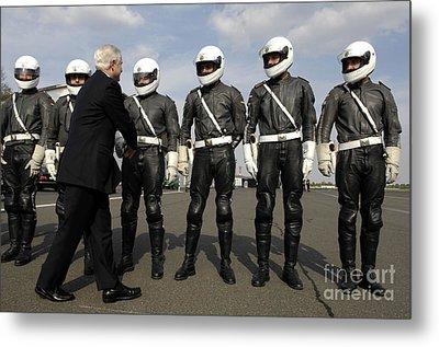 German Motorcycle Police Shake Hands Metal Print by Stocktrek Images