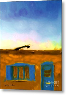 Metal Print featuring the painting G'evening Peacock by Susan Fisher