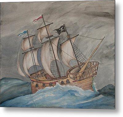 Ghost Pirate Ship Metal Print
