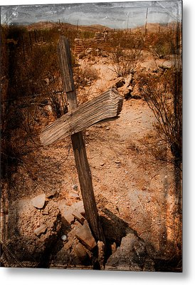 Ghost Town Cross Metal Print by Sonja Quintero