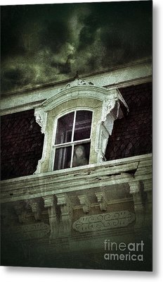 Ghostly Girl In Upstairs Window Metal Print by Jill Battaglia