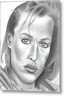 Gillian Anderson Metal Print by Rick Hill
