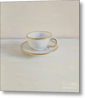 Gilt Cup On White Marble Metal Print by Paul Grand