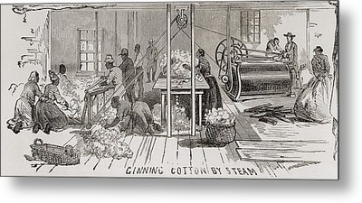 Ginning Cotton By Steam Powered Gin Metal Print by Everett