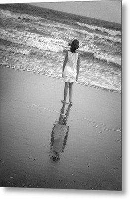 Girl By Ocean Metal Print by Kelly Hazel