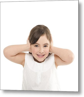 Girl Covering Her Ears Metal Print by