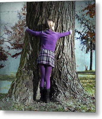 Girl Hugging Tree Trunk Metal Print by Joana Kruse