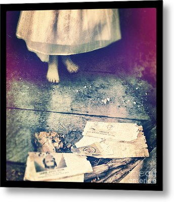 Girl In Abandoned Room Metal Print by Jill Battaglia