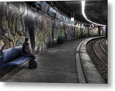 Girl In Station Metal Print