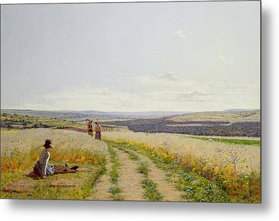 Girl In The Fields   Metal Print