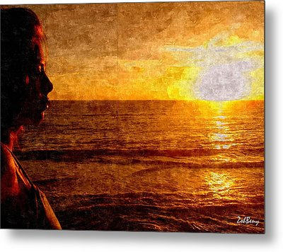 Girl In The Sunset Painting Metal Print by Zoh Beny