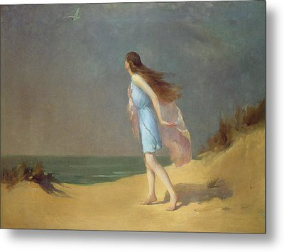 Girl On The Beach  Metal Print by Frank Richards