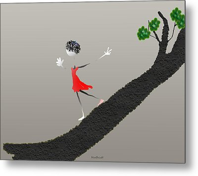 Metal Print featuring the digital art Girl Running Down A Tree by Asok Mukhopadhyay