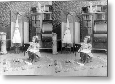 Girl Seated In Middle Of Room Metal Print by Everett