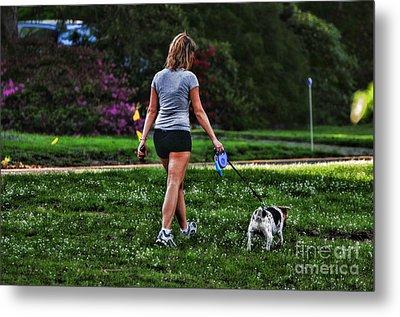 Girl Walking Dog Metal Print by Paul Ward