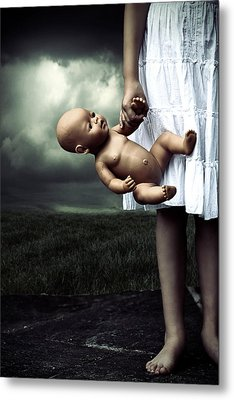 Girl With A Baby Doll Metal Print by Joana Kruse