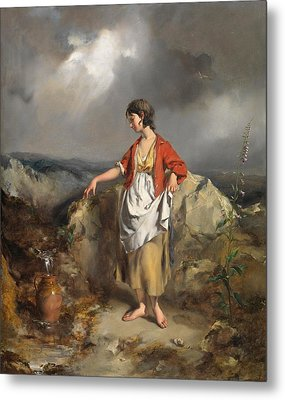 Girl With A Pitcher Metal Print by PF Poole