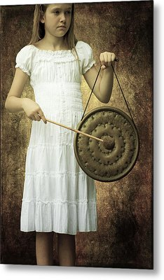 Girl With Gong Metal Print by Joana Kruse
