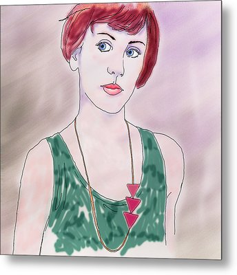 Metal Print featuring the digital art Girl With Necklace by Ginny Schmidt