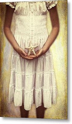 Girl With Starfish Metal Print by Joana Kruse