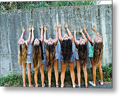 Girls And Long Hair Metal Print by Jenny Senra Pampin