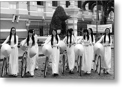 Girls-bicycle Metal Print by Arik S Mintorogo