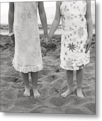 Girls Holding Hand On Beach Metal Print by Michelle Quance