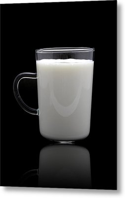 Glass Of Milk  Metal Print by Natthawut Punyosaeng