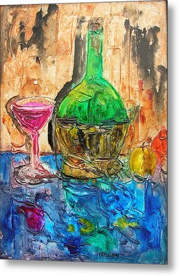 Glass Of Wine Metal Print by Mary Kay Holladay