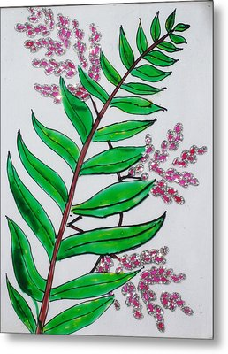 Glass Painting-plant Metal Print by Rejeena Niaz