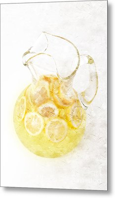 Glass Pitcher Of Lemonade Metal Print by Andee Design