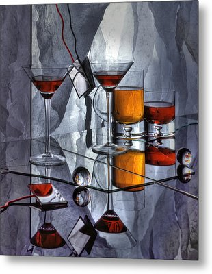 Glass Reflection Metal Print by Ron Schwager