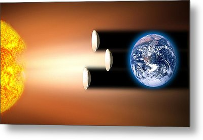 Global Warming Sun Shields, Artwork Metal Print by Victor De Schwanberg