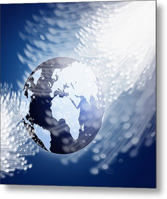 Globe With Fiber Optics Metal Print