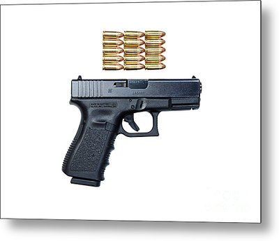 Glock Model 19 Handgun With 9mm Metal Print by Terry Moore