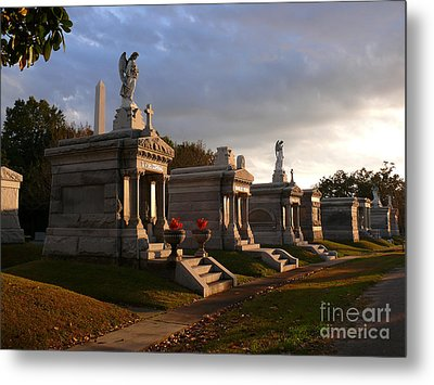 Metal Print featuring the photograph Glowing Cemetery by Jeanne  Woods