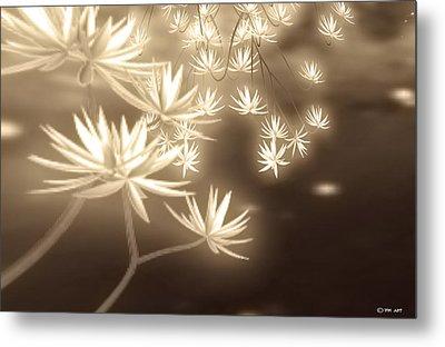 Glowing Flower Fractals Metal Print
