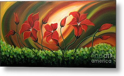Glowing Flowers 4 Metal Print by Uma Devi