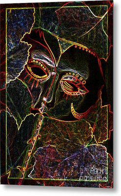 Metal Print featuring the relief Glowing Mask With Leaves by Nareeta Martin
