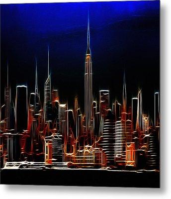 Glowing New York Metal Print