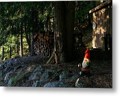 Gnome And The Woodpile Metal Print by Lorraine Devon Wilke