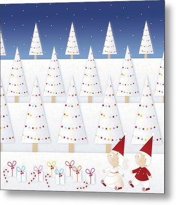 Gnomes - December Metal Print