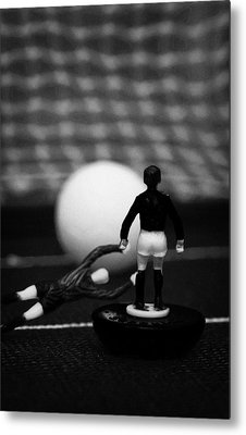 Goalkeeper Diving To Foul Player In The Box Football Soccer Scene Reinacted With Subbuteo  Metal Print by Joe Fox
