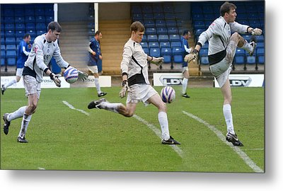 Goalkeeper Kicking Sequence Metal Print by David Birchall